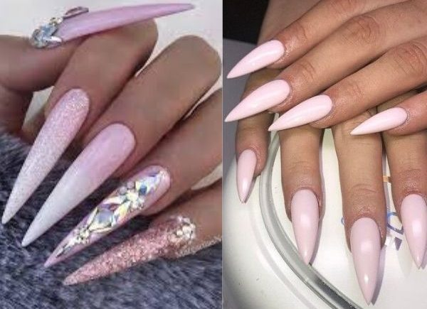 Pink long and short stiletto nails