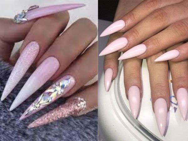 20 Pink Long and Short Stiletto Nails