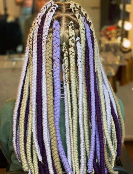 Multicolored Yarn Braids Styles